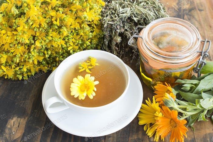 Herbal Medicine, Tea, St. John's Wort, Savory, and Calendula Oil