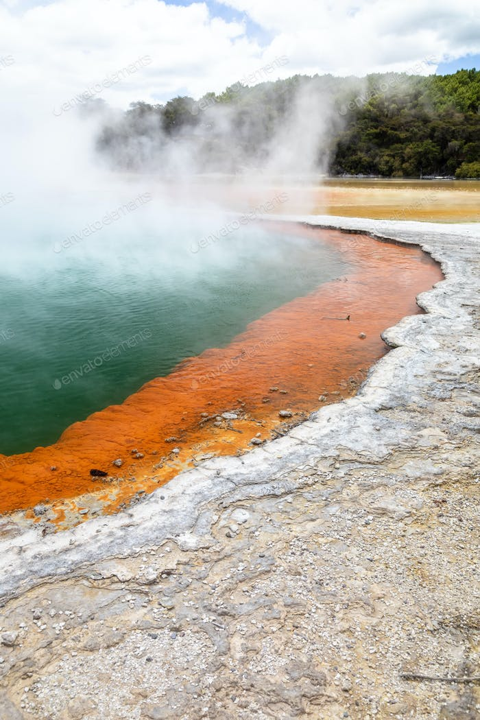 hot sparkling lake in New Zealand