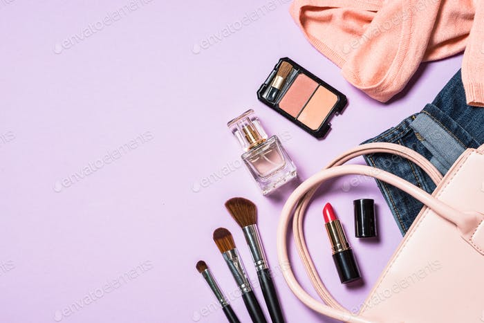 Woman flat lay fashion background