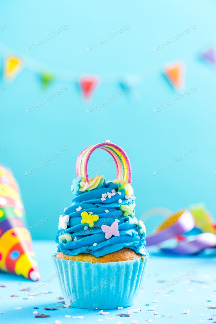 Blue cupcake, celebration card mockup