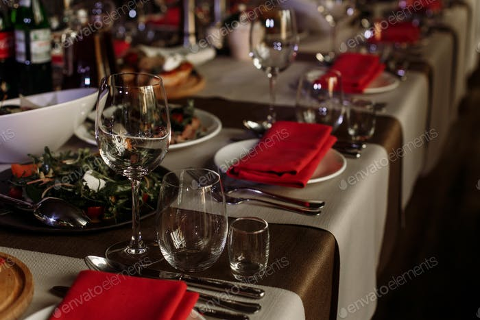 Luxury catering at restaurant wedding reception