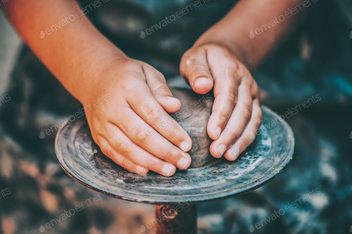 Child Potter And Clay Craft