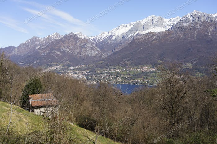 Winter landscape near Asso, italy with view of Como lake