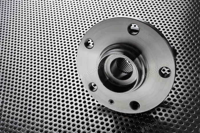 Composition of the car wheel bearing on metal surface