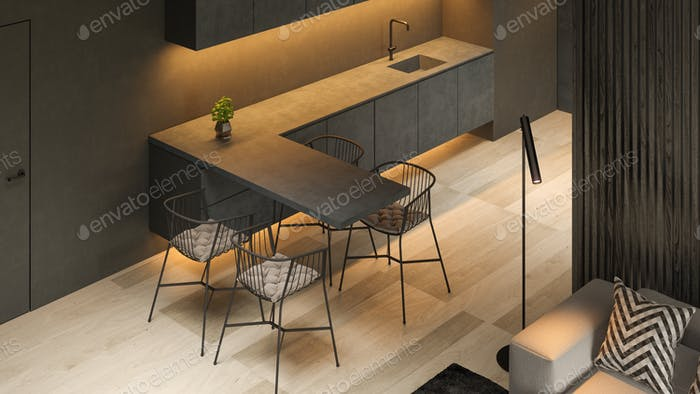 Angle view black minimalist Interior of modern living room 3D rendering