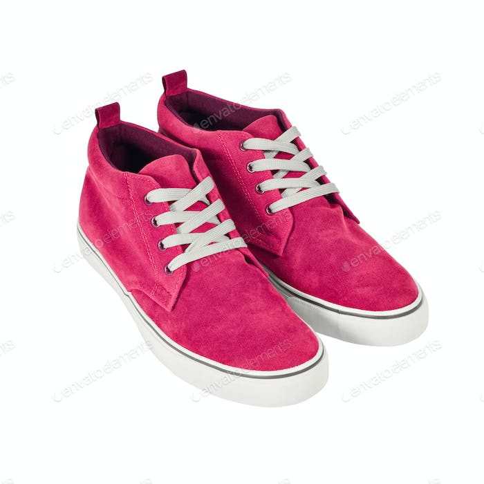 Pink vans shoes isolated on white with path