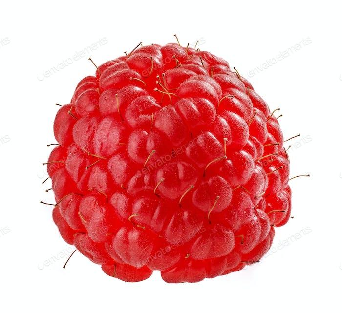 raspberry macro on white background