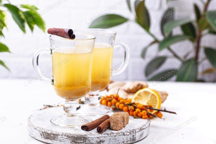 Healthy hot sea buckthorn tea