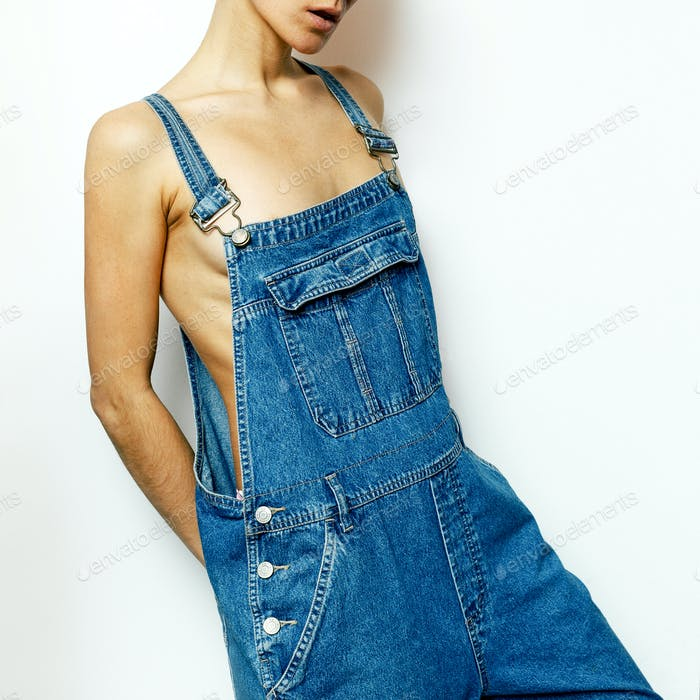 Stylish Girl Hipster Denim Style Urban fashion denim overalls