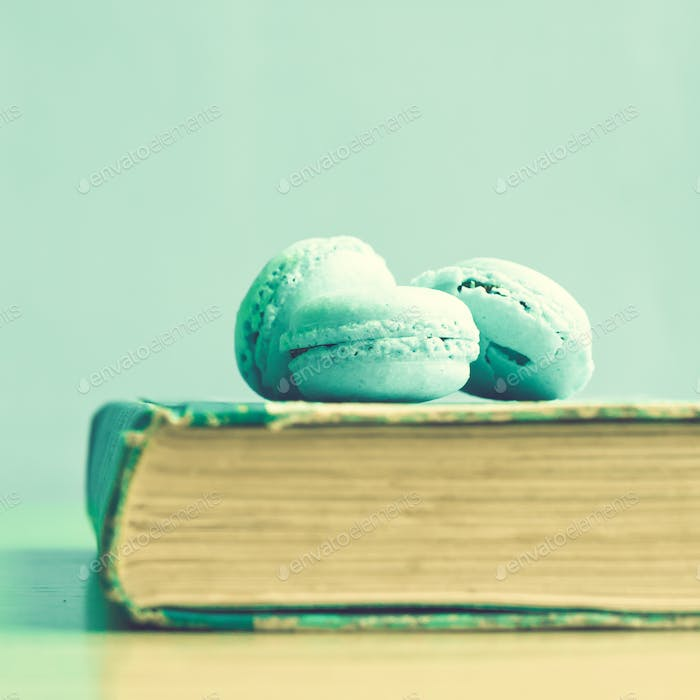 Macarons on a book