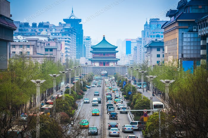 the street scene of ancient city in xian