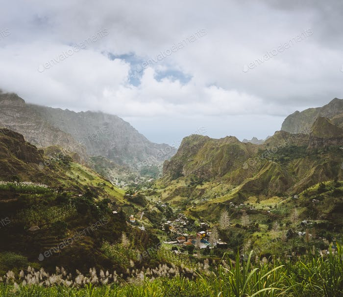 Cape Verde. Gorgeous panoramic view of famous fertile Paul Valley. Agriculture terraces of sugarcane