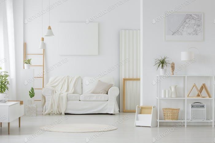 Simple white living room interior