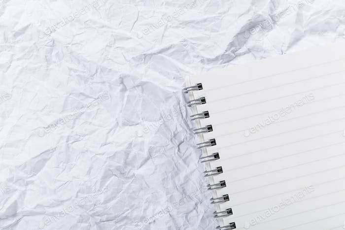 White crumple paper and notepad