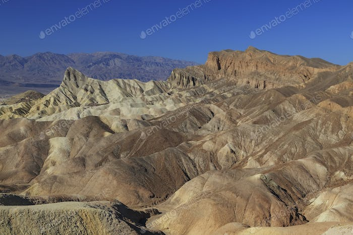 Golden Canyon and Gower Gulch Loop trail view of badlands at Zabriskie point