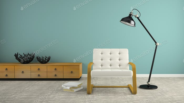 Part of  interior with black lamp and white armchair 3D renderin