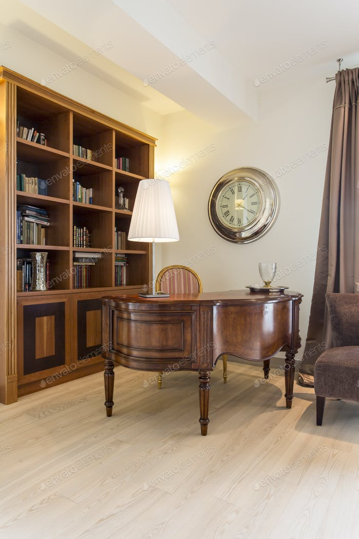 Classic interior with antique and bookshelf