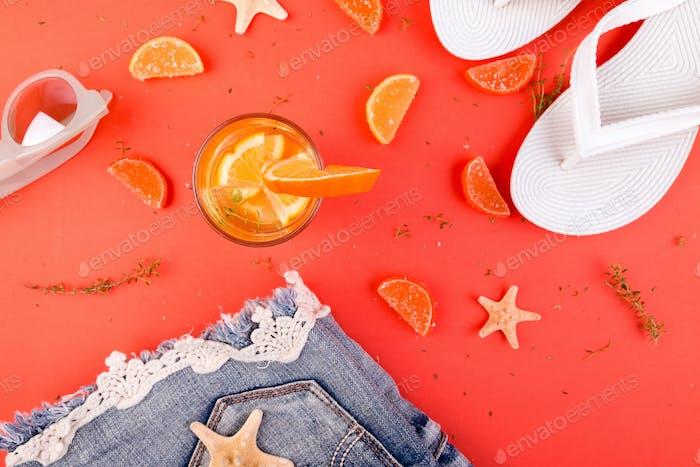 Summer vacation. Orange fruit cocktail