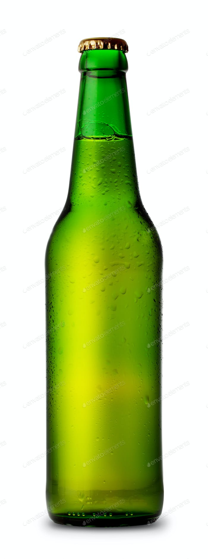 Green bottle of beer and drops