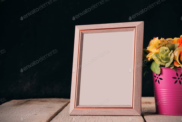 Picture frames on the old wooden