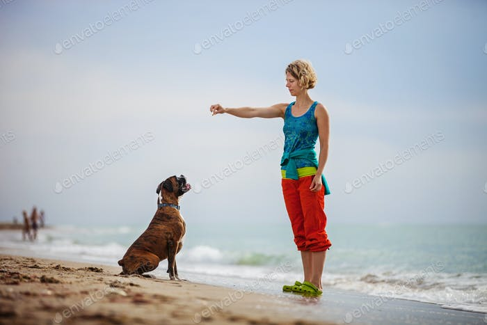 Young woman giving commands to boxer dog while walking on beach