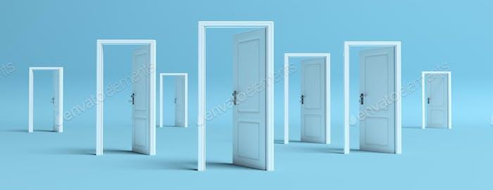 Puertas blancas abiertas sobre Fondo azul, Banner. Ilustración 3D
