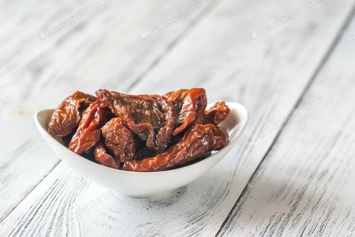 Bowl of sun-dried tomatoes