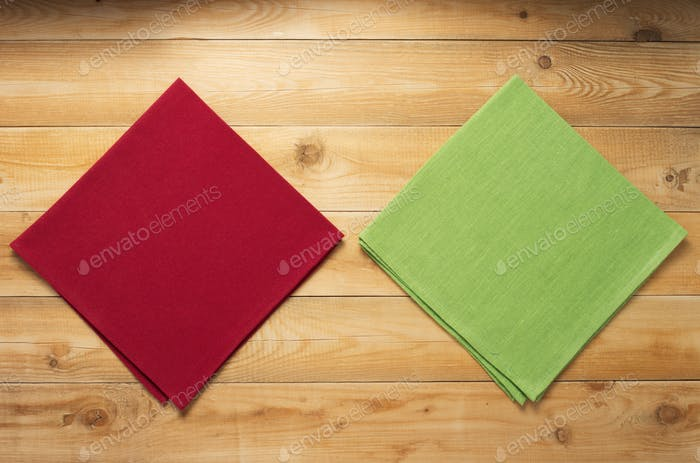 cloth napkin on at rustic wooden table