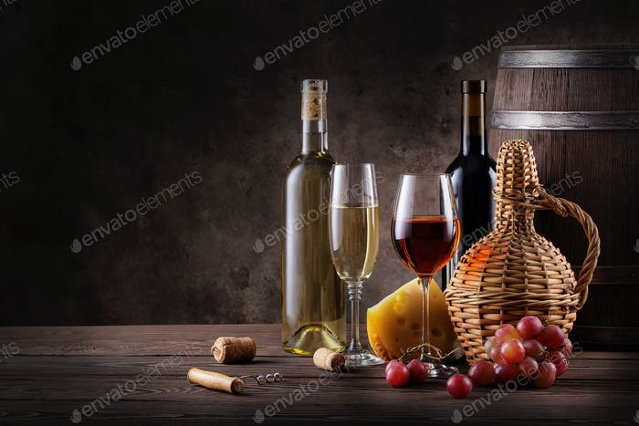 Wine still life on a wooden table