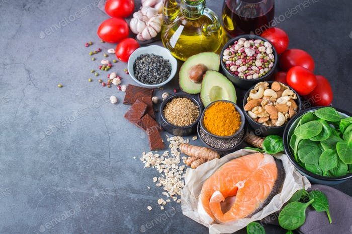 Healthy food, low cholesterol, heart, diabetes, diet for middle aged