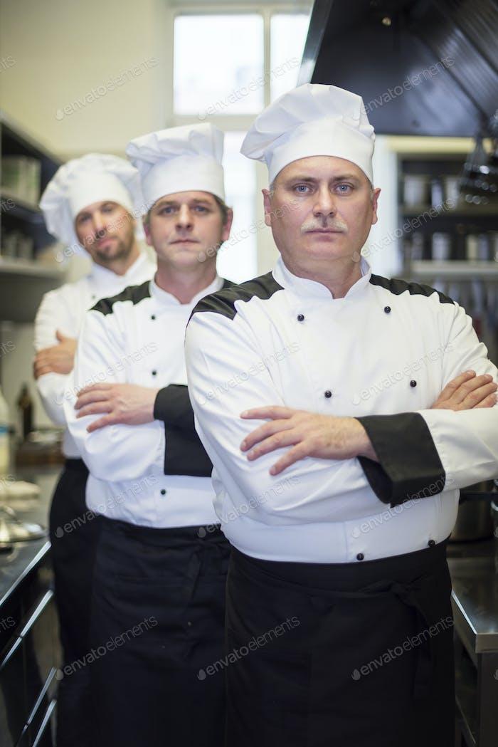 Chefs in the kitchen interior