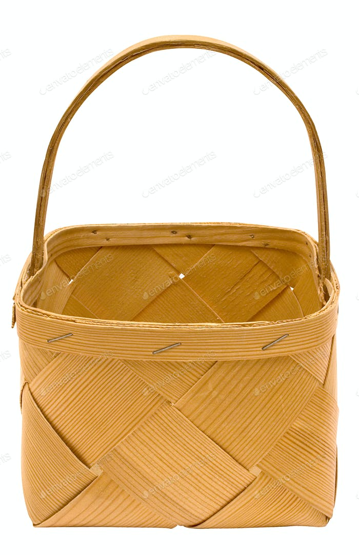 Wooden Basket with Clipping Path Isolated on a White Background