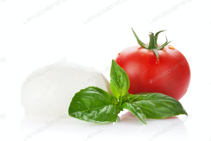 Mozzarella cheese, tomato and basil