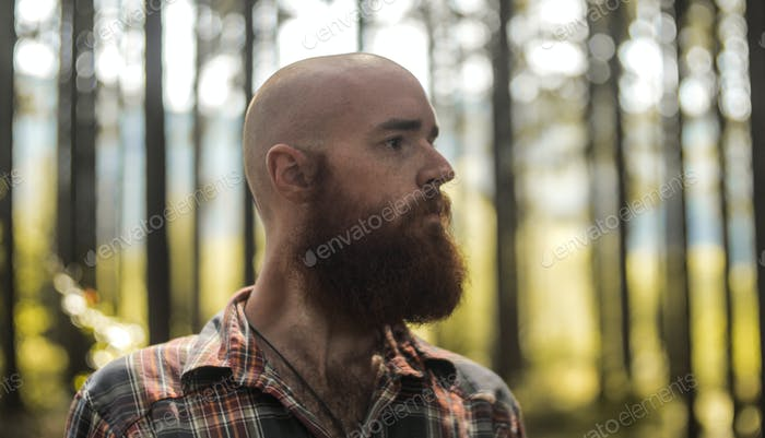 portait of a young bald caucasian man with a beard standing in a forest looking away from a camera