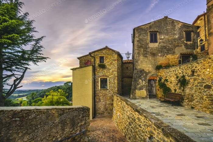Casale Marittimo old stone village in Maremma. Picturesque stree