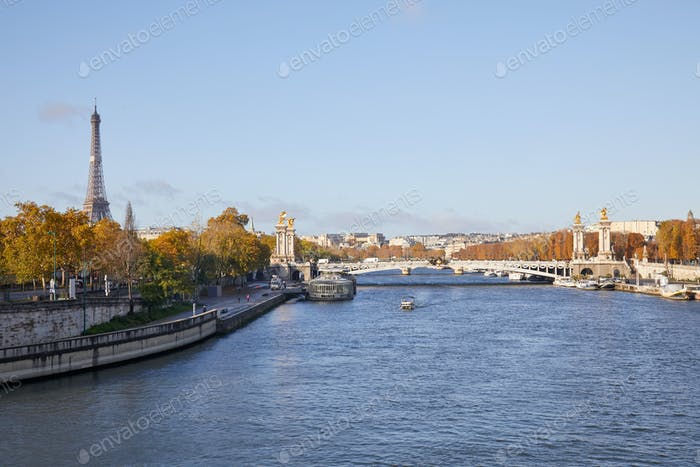 Seine river view with Eiffel tower and Alexander III bridge, wide angle view in a sunny day in Paris