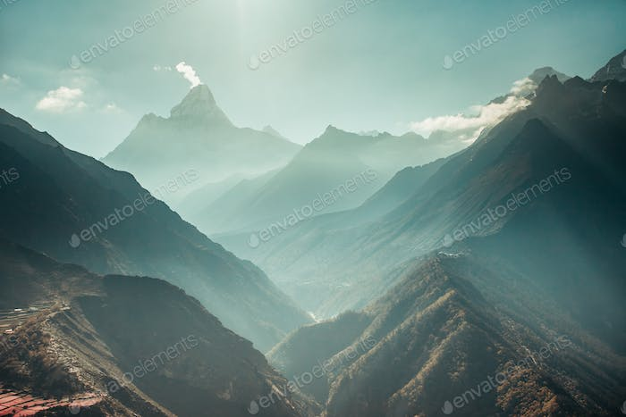 Panorama the Himalayas and the canyons. Nepal