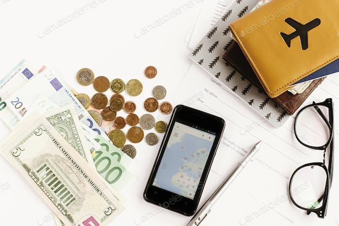 Passgeld Telefon mit Karte und Brille