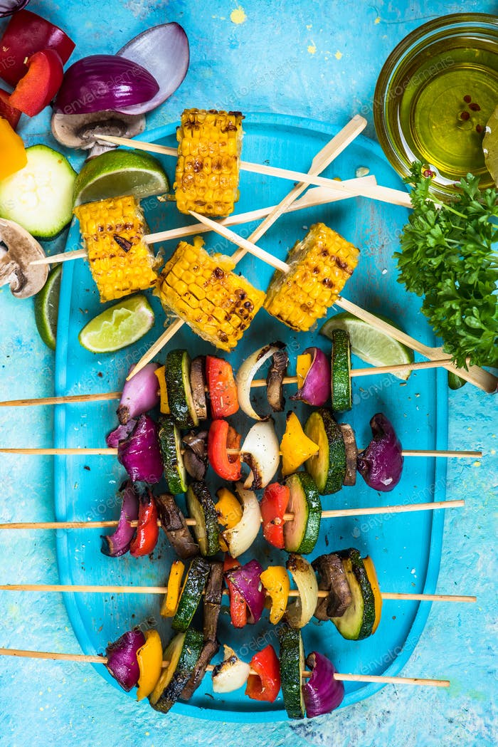 grilled vegetables,top view, vibrant colors