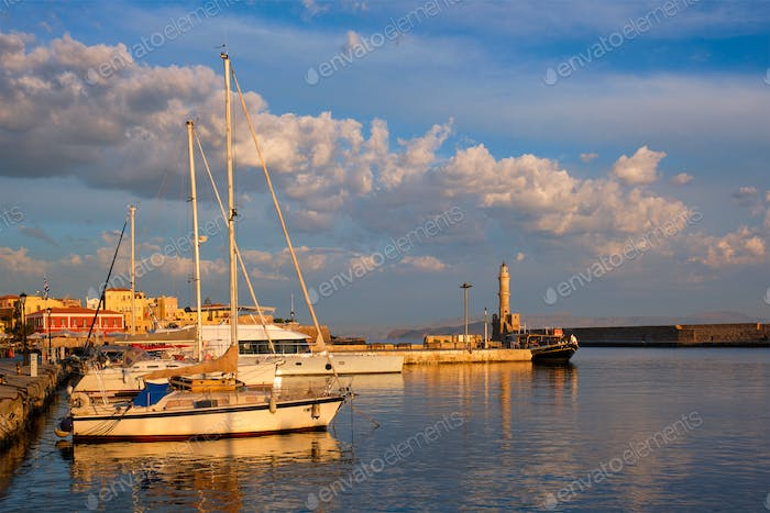 Yachts and boats in picturesque old port of Chania, Crete island. Greece