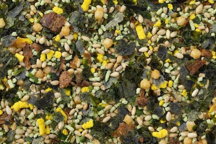 Japanese Wasabi furikake close up full frame