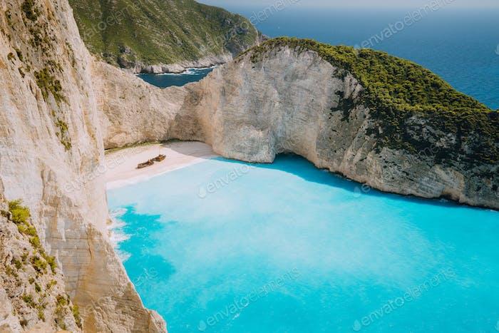 Panoramic photo of Wreck ship beach Navagio. Zakynthos Island, Greece