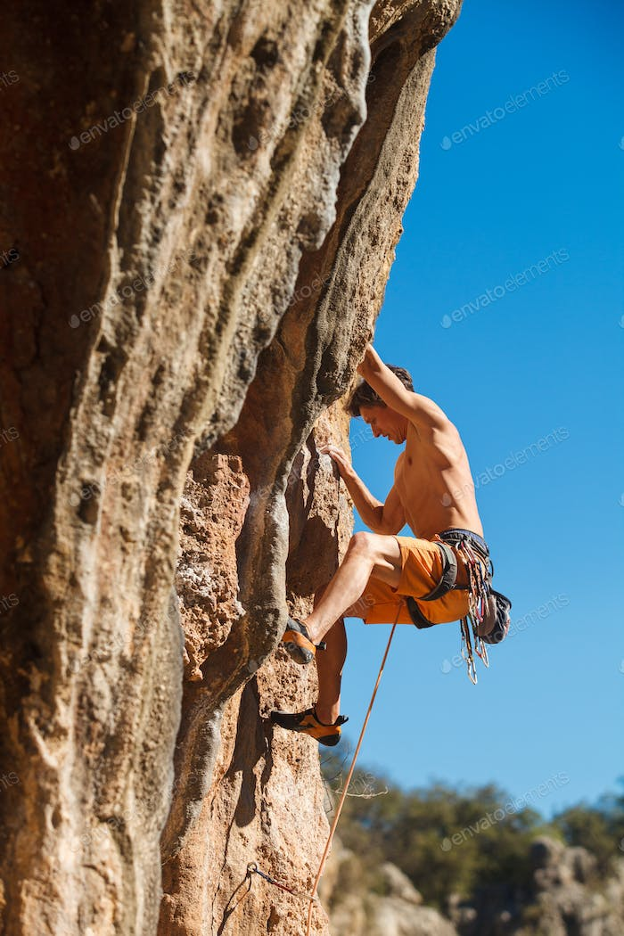 Rock climbing close-up
