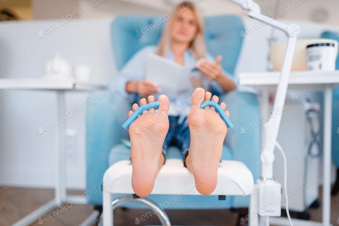 Beautician salon, foot care procedure