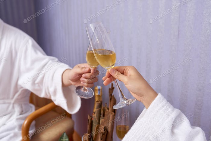 Clinking Glasses With Sparkling Wine