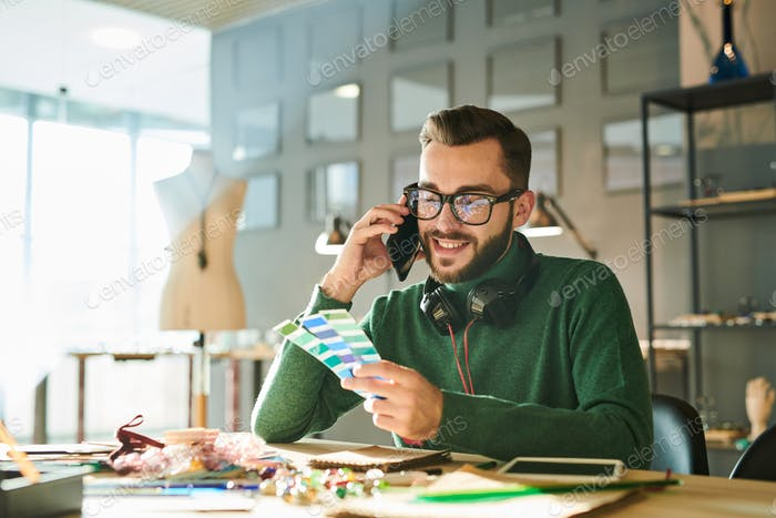 Designer Speaking by Phone