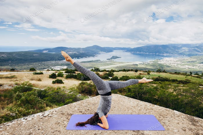 woman yoga relaxation in tranquil landscape