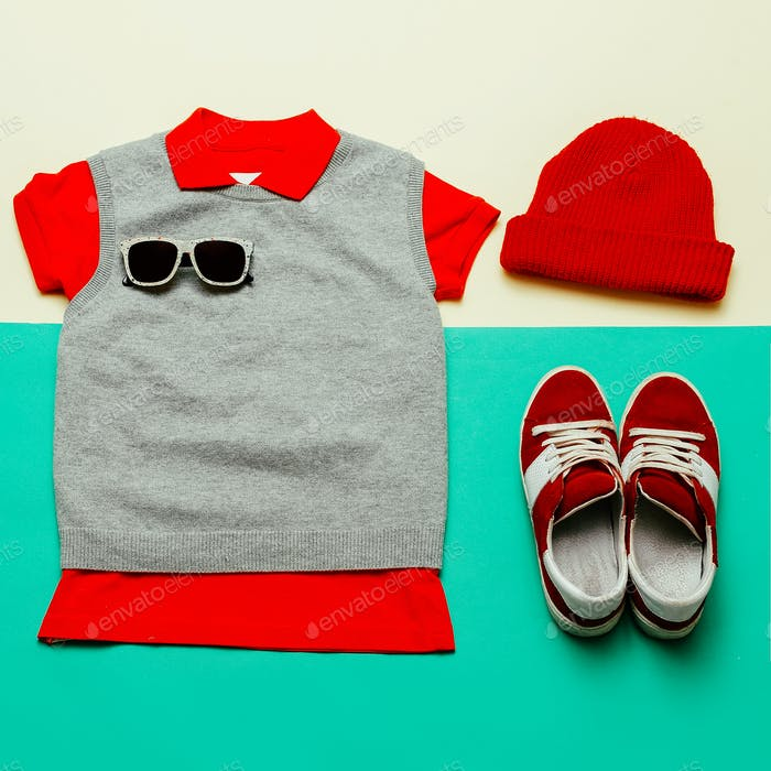 Stylish clothes. Skateboard fashion. Focus on red.