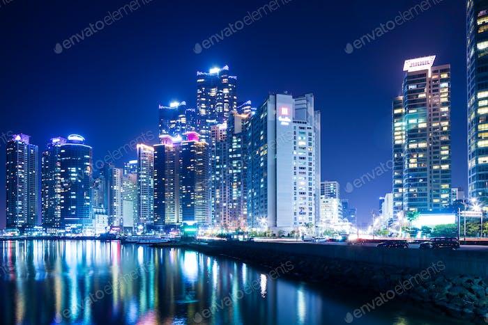 Busan city skyline at night