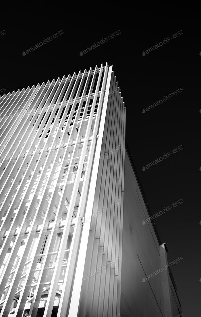 Abstract architecture design. Black and white futuristic exterior background. Black sky copy-space